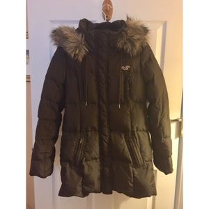 Hollister Faux Fur Hooded Brown Puffer Parka Large